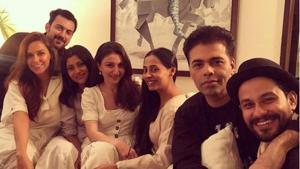 Neha Dhupia and Dia Mirza with their Bollywood buddies.(Diamirzaofficial/Instagram)