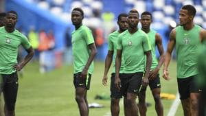 Nigeria's players take part in a training session at the Kaliningrad Stadium on June 15, 2018 during the Russia 2018 World Cup football tournament.(AFP)