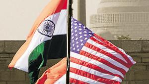 File photo of Indian and US national flags in front of the Rashtrapati Bhawan in New Delhi.(REUTERS)