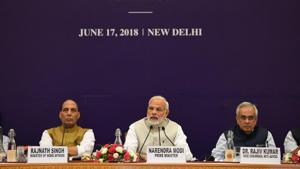 Prime Minister Narendra Modi at the fourth Governing Council meeting of Niti Aayog.(@narendramodi/Twitter)