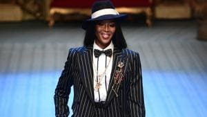 British model Naomi Campbell presents a creation by Dolce & Gabbana.(AFP)