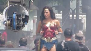 Gal Gadot on the set of Wonder Woman 1984.(YouTube screengrab)