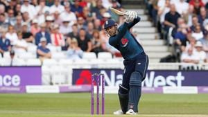 England's Alex Hales scores a six against Australia in the third ODI in Nottingham on Tuesday.(Action Images via Reuters)