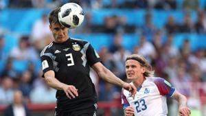 Argentina's Nicolas Tagliafico in action with Iceland's Ari Freyr Skulason at FIFA World Cup 2018.(REUTERS)