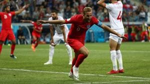 England's Harry Kane celebrates scoring their second goal against Tunisia in a FIFA World Cup 2018 match.(REUTERS)