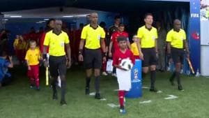 Rishi Tej (centre with the ball) became the first ever official match ball carrier from India at FIFA World Cup 2018, during the Group G match between Belgium and Panama earlier this week.(Twitter)