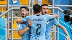 Uruguay beat Saudi Arabia 1-0 thanks to a wonderful goal from Luis Suarez to help the team qualify for the round of 16. Get highlights of Uruguay vs Saudi Arabia, FIFA World Cup 2018 Group A match here(REUTERS)