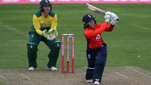 Tammy Beaumont was the top-scorer as England posted the highest women's T20 cricket total against South Africa.(Getty Images)