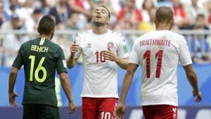 Denmark's Christian Eriksen, centre, reacts during their Group C match vs Australia at the 2018 FIFA World Cup in the Samara Arena in Samara on Thursday.(AP)