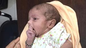 Two day old baby after surgery at Narayana hospital.(HT PHOTO)