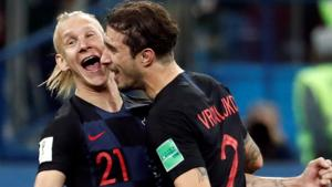 Croatia's Domagoj Vida and Sime Vrsaljko celebrate after their win over Argentina in the FIFA World Cup 2018.(REUTERS)