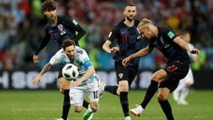 Argentina's Lionel Messi in action with Croatia's Domagoj Vida during the FIFA World Cup Group D game at Nizhny Novgorod Stadium on Thursday.(Reuters)