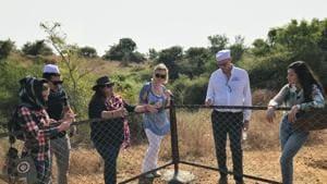 Aaliya Sultana Babi (in black) with a group of tourists at the Raiyoli Raiyoli Balasinor Fossil Park in Gujarat.(Photo Courtesy: Aaliya Sultana Babi; Photo by Himanshu Pandya)