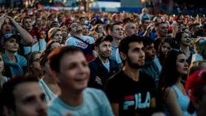 Russian fans cheer their team during the FIFA World Cup 2018 in Nizhny Novgorod, a city which has got a new lease of life due to the tournament.(AFP)