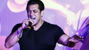 Indian Bollywood actor Salman Khan sings during the music launch of the upcoming action thriller Hindi film Race 3 in Mumbai.(AFP)