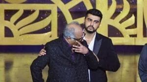 Arjun Kapoor comforts his father Boney Kapoor as he gets teary-eyed missing his late wife and actor Sridevi.