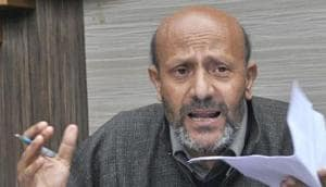 Engineer Rashid was holding a protest in Srinagar against civilian killings and threat to Kashmiri journalists when the police intercepted and detained him and his supporters.(Waseem Andrabi/ Hindustan Times)