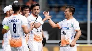 The India men's hockey team has secured wins over Pakistan and Argentina in the ongoing Champions Trophy.(Hockey India/Frank Uijlenbroek)