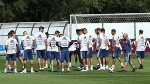 Argentina coach Jorge Sampaoli and players during training at the Bronnitsy Training Centre in Moscow Region on Monday.(Reuters)