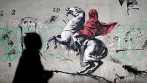 A recent artwork attributed to British activist-artist Banksy.(REUTERS)