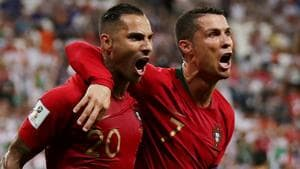 Portugal's Ricardo Quaresma celebrates scoring their first goal with Cristiano Ronaldo during their FIFA World Cup Group B match against Iran at the Mordovia Arena in Saransk on Monday.(Reuters)
