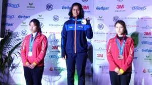 Manu Bhaker after winning the gold medal at the ISSF Junior World Cup .(HT Photo)