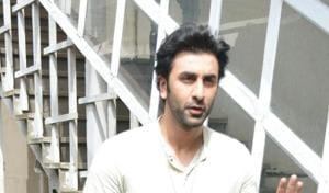 Ranbir Kapoor at a studio in Bandra, Mumbai.(IANS)