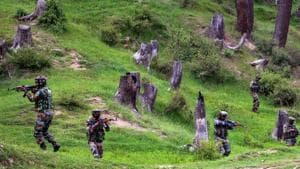 A file photo of army personnel take positions during an encounter with the militants in Keran Sector of Kupwara district of north Kashmir on Sunday, June 10.(PTI)