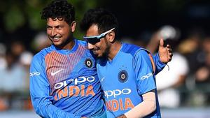 Kuldeep Yadav (L) took four wickets in India's 76-run win over Ireland in the first T20 in Dublin.(REUTERS)