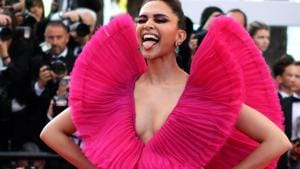 Deepika Padukone poses as she arrives for a screening at the 71st edition of the Cannes Film Festival in Cannes.(AFP)
