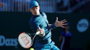 Kyle Edmund in action during his second round match against Andy Murray at Devonshire Park, Eastbourne, Britain on June 27, 2018 .(REUTERS)