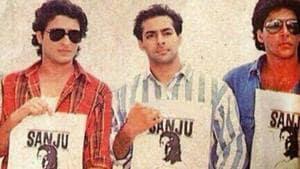 Ajay Devgn, Saif Ali Khan, Salman Khan and Akshay Kumar stand in support of Sanjay Dutt in Rishi Kapoor's throwback picture.