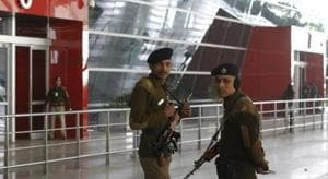 CISF Personnel at T3 IGI Airport in New Delhi, India.(HT File Photo)