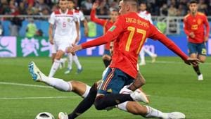 Spain's forward Iago Aspas vies with Morocco's defender Manuel Da Costa during the Russia 2018 World Cup Group B football match between Spain and Morocco.(AFP)
