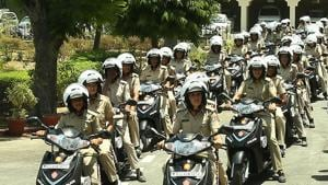 The Rajasthan police also has a lady police patrol unit for women's safety in Jaipur. They are also using technology, such as drone cameras, to fight crime in the state.(HT FILE PHOTO)