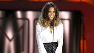 Jessica Alba speaking at an event in California.(Reuters)