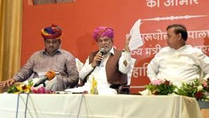 Union minister of state for agriculture Parshottam Rupala (centre) addresses people at a press conference in Jaipur on Thursday.(HT Photo)