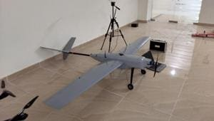 An unmanned aerial vehicle during test at Information Technology Development Agency in Dehradun on Friday.(HT Photo)