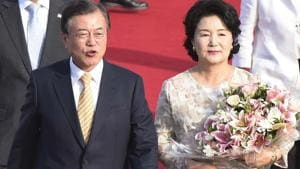South Korean President Moon Jae-in and his wife Kim Jung-sook arrive at Technical Palam Airport in New Delhi, marking his first ever visit to India, on Sunday, July 08, 2018.(Vipin Kumar/HT PHOTO)