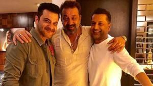 Sanjay Dutt is flanked by Sanjay Kapoor and Paresh Ghelani.(Sanjaykapoor2500/Instagram)