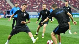 Croatia's forward Mario Mandzukic (L) and teammates attend a training session at the Luzhniki Stadium in Moscow on July 10, 2018, on the eve of the 2018 FIFA World Cup semi-final football match between Croatia and England.(AFP)