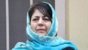 Peoples Democratic Party president Mehbooba Mufti during a party meeting in Jammu.(PTI Photo)