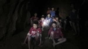 File photo released by Tham Luang Rescue Operation Center shows the boys and their soccer coach as they were found in a partially flooded cave, in Mae Sai, Chiang Rai, Thailand.(AP Photo)