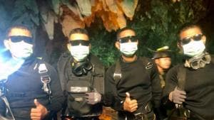 Four Thai Navy Seals are seen after leaving the cave safe during the rescue mission in Chiang Rai Province, Thailand, on July 10, 2018.(REUTERS)
