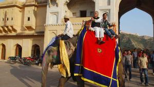 Elephant rides are a major attraction at Amer Fort.(HT FILE (FOR REPRESENTATIONAL PURPOSE))