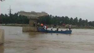 A boat capsized in Andhra Pradesh's East Godavari district on Saturday.(ANI Photo)