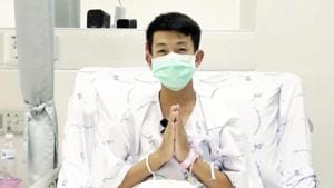 This image made from a video taken on July 13, 2018 and released by Chiang Rai Prachanukroh Hospital, shows Pornchai Kamluang, one of the 12 boys rescued from the flooded cave, in their hospital room at Chiang Rai Prachanukroh Hospital.(AP Photo)