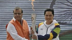 Indian Olympic Association (IOA) President Narinder Batra with Chairman Indonesia Asian Games Organizing Committee (INASGOC) Erick Thohir hold the torch during the 18th Asian Games Jakarta-Palembang 2018 Flame - Lighting Ceremony at Major Dhyanchand National Stadium in New Delhi.(HT PHOTO)
