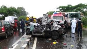 The accident took place at Karla on Sunday.(HT Photo)