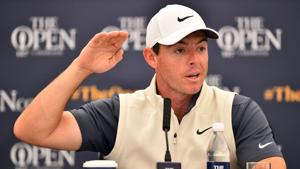 Northern Ireland's Rory McIlroy speaks to members of the media during a press conference at The 147th Open golf Championship at Carnoustie.(AFP)